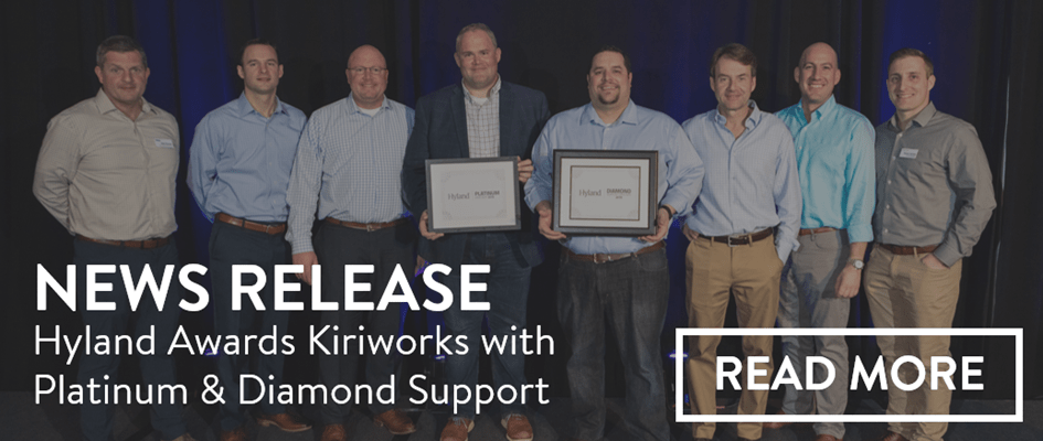 Kiriworks team receiving Hyland Platinum and Diamond Support status